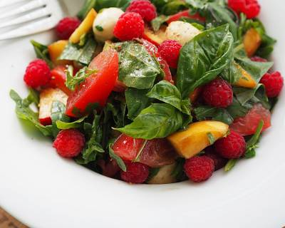 Summer Salad with Goat Cream Cheese, Apricots and Raspberry Dressing