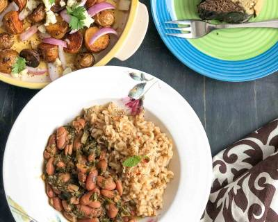 Here's A Lip Smacking Weekend Dinner: Persian Chicken Stew, Herbed Rice, Roasted Potato Salad & Marble Cake