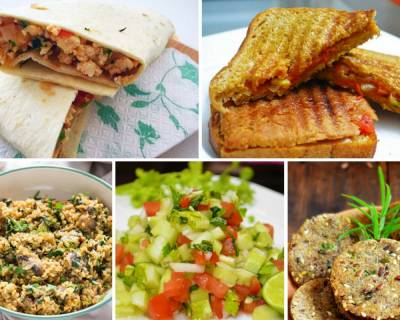Weekly Lunch Box Recipes & Ideas from Paneer Bhurji wrap, Onion tomato Sandwich & More