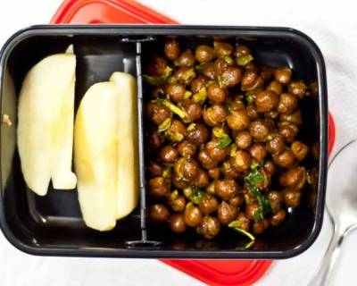 Chickpea Sundal and Apples | School Lunch Box Recipes