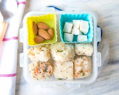 Rava Dhokla Cheese & Almonds (Kids Lunch Box Recipes)